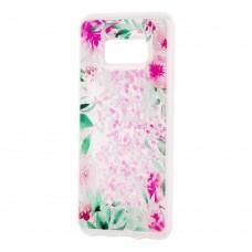 """Чехол для Samsung Galaxy S8 (G950) Блестки вода светло-розовый """"цветущие уголки"""""""