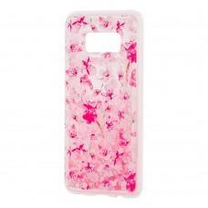 """Чехол для Samsung Galaxy S8 (G950) Блестки вода светло-розовый """"розовые цветы"""""""