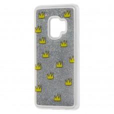 "Чехол для Samsung Galaxy S9 (G960) Блестки вода серебристый ""корона"""