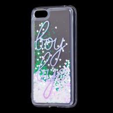 "Чехол для Huawei Y5 2018 Блестки вода светло-розовый ""boy bye"""