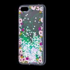 """Чехол для Huawei Y5 2018 Блестки вода светло-розовый """"цветы"""""""