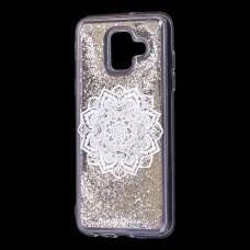 "Чехол для Samsung Galaxy A6 2018 (A600) Блестки вода серебристый ""белая мандала"""