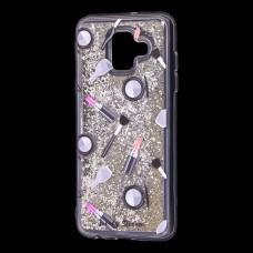 """Чехол для Samsung Galaxy A6 2018 (A600) Блестки вода серебристый """"пудра и помада"""""""