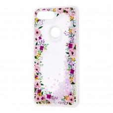 """Чехол для Xiaomi Mi 8 Lite Блестки вода светло-розовый """"цветы"""""""
