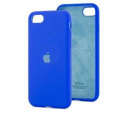 Чехол для iPhone 7 / 8 Silicone Full синий / shiny blue