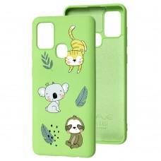 Чехол для Samsung Galaxy A21s (A217) Wave Fancy animals / mint gum