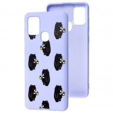 Чехол для Samsung Galaxy A21s (A217) Wave Fancy bears with tea / light purple