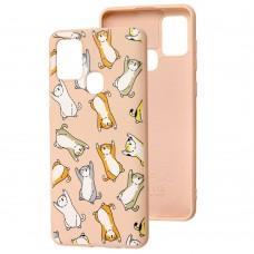 Чехол для Samsung Galaxy A21s (A217) Wave Fancy cats / pink sand