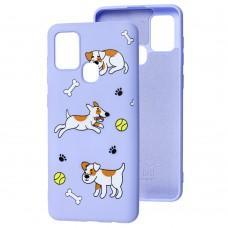 Чехол для Samsung Galaxy A21s (A217) Wave Fancy playful dog / light purple