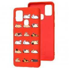 Чехол для Samsung Galaxy A21s (A217) Wave Fancy sleeping dogs / red