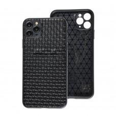 Чехол для iPhone 11 Pro Max Leather case плетенка