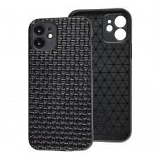 Чехол для iPhone 12 Leather case плетенка