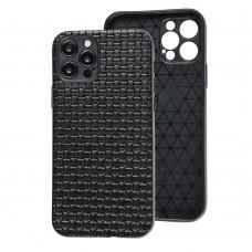 Чехол для iPhone 12 Pro Leather case плетенка