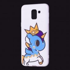 """Чехол для Samsung Galaxy J6 2018 (J600) """"синий единорог с короной"""""""