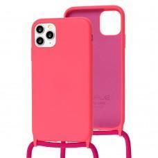 Чехол для iPhone 11 Pro Wave Lanyard without logo bright pink