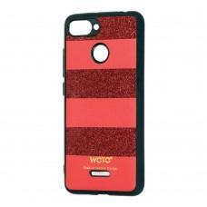 Чехол для Xiaomi Redmi 6 woto с блестками красный