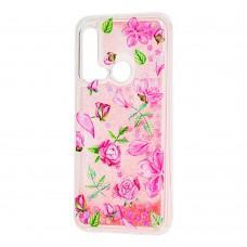 """Чехол для Huawei P20 Lite 2019 Блестки вода """"розовые розы"""""""