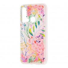 """Чехол для Huawei P20 Lite 2019 Блестки вода """"цветы и травы"""""""