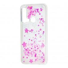 "Чехол для Huawei P20 Lite 2019 Блестки вода ""бело-розовые звезды"""