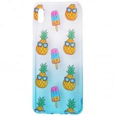 Чехол для Samsung Galaxy A02 (A022) Wave Sweet white / turquoise / pineapple