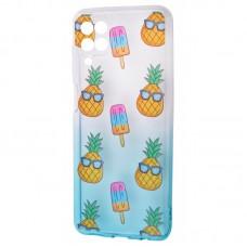 Чехол для Samsung Galaxy A12 (A125) Wave Sweet white / turquoise / pineapple