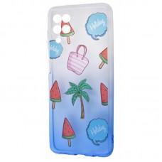 Чехол для Samsung Galaxy A12 (A125) Wave Sweet white / blue / palm