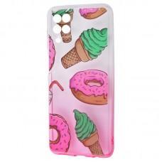 Чехол для Samsung Galaxy A12 (A125) Wave Sweet white / pink / donut