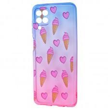 Чехол для Samsung Galaxy A12 (A125) Wave Sweet blue / pink / ice-cream