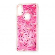 "Чехол для Xiaomi Redmi 7 Блестки вода ""розовый фламинго"""