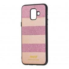 Чехол для Samsung Galaxy A6 2018 (A600) woto с блестками розовый