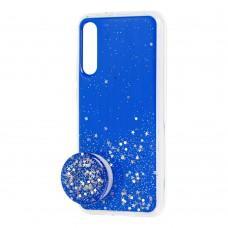 Чехол для Xiaomi Mi A3 / Mi CC9e Acrylic блестки + popsocket синий