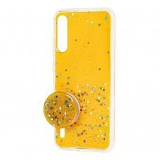 Чехол для Xiaomi Mi A3 / Mi CC9e Acrylic блестки + popsocket желтый
