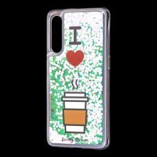"""Чехол для Xiaomi Mi 9 Блестки вода светло-розовый """"я люблю кофе"""""""