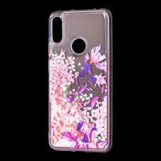 """Чехол для Huawei Y6 2019 вода розовый """"розово-фиолетовые цветы"""""""