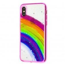 Чехол для iPhone X / Xs Colorful Rainbow розовый