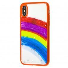 Чехол для iPhone X / Xs Colorful Rainbow красный