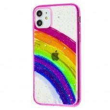 Чехол для iPhone 11 Colorful Rainbow розовый