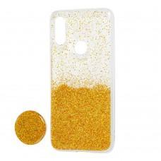 Чехол для Xiaomi Redmi 7 Fashion блестки + popsocket золотистый