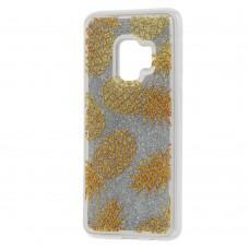 "Чехол для Samsung Galaxy S9 (G960) Блестки вода серебристый ""ананас"""
