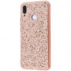 Чехол для Samsung Galaxy M20 (M205) Shining sparkles с блестками розово-золотистый