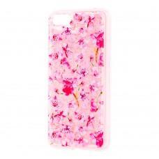 """Чехол для Huawei Y5 2018 Блестки вода розовый """"розовые цветы"""""""