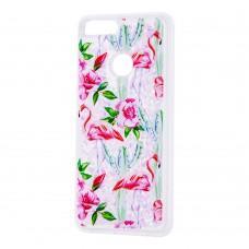 """Чехол для Huawei P Smart Блестки вода светло-розовый """"фламинго и кактусы"""""""