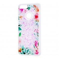 """Чехол для Huawei P Smart Блестки вода светло-розовый """"цветущие уголки"""""""