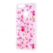 """Чехол для Huawei P Smart Блестки вода розовый """"розовые цветы"""""""