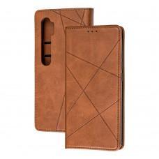 Чехол книжка Business Leather для Xiaomi Mi Note 10 Lite коричневый