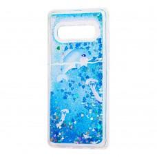 "Чехол для Samsung Galaxy S10 (G973) Блестки вода ""дельфин синий"""