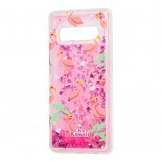 "Чехол для Samsung Galaxy S10 (G973) Блестки вода ""фламинго"""