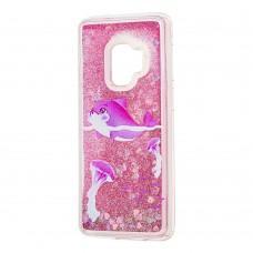 """Чехол для Samsung Galaxy S9 (G960) Блестки вода """"дельфин розовый"""""""