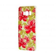 Чехол для Samsung Galaxy S8 (G950) с принтом красные цветы с листьями