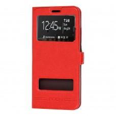 Чехол книжка для Xiaomi Redmi 7 Rock с двумя окнами красный